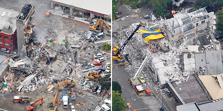 Aerial views of the destroyed CTV building, left, and the Pyne Gould Guinness building. Photos / Sarah Ivey, Mark Mitchell