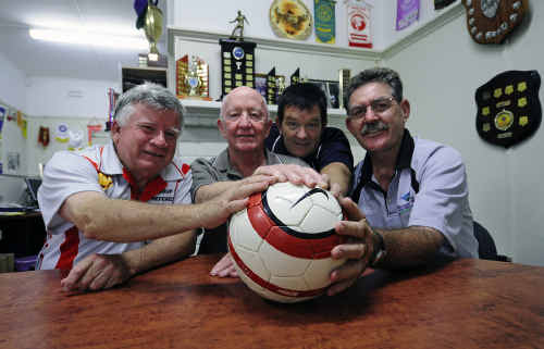 Bill Gibbons (Group 2 referees), Jim Woodlock (AFL North Coast), Peter Rowe (North Coast Football) and Des Hoy (MNC Rugby) after signing the deal to share information regarding suspended players.