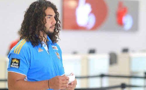 Titans forward Ryan James at the Gold Coast Airport.