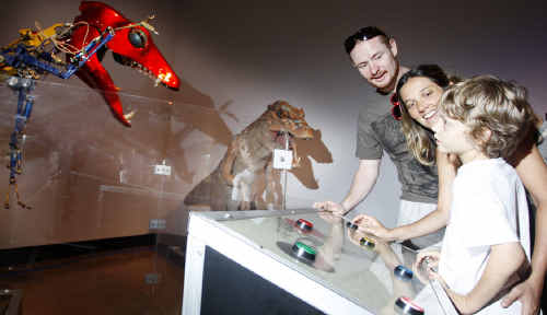 Karl and Thais Tout with their son Nicolas at the new exhibition at the Ipswich Art Gallery, 'How to Make a Monster'.