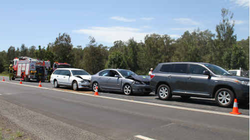 A grey Mazda sedan, reportedly travelling well above the 60km/h roadwork speed limit, skidded and crashed into a grey SUV on the Pacific Highway, three kilometres south of the Harwood Bridge, just after noon yesterday. A white Mitsubishi Magna station wagon then collided with the back of the sedan. No-one was injured in the incident.