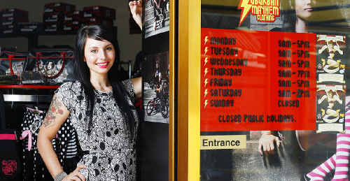 """Dacynta """"Flick"""" Urquart, owner of Suburban Mayhem alternative clothing store in the Ipswich CBD, is pleased her store has been able to reopen after the floods that hit the city in January."""