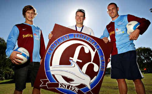Coolum Football club player Jack Neeve, coach Gabor Ganczer and captain Justin Gerbic sport the club's new look yesterday.