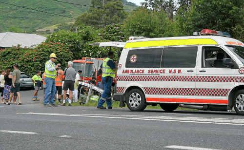 The accident scene at Woolgoolga yesterday morning.