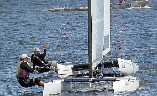 Bob Eggins and Roger Shead sail A-class catamarans last weekend.