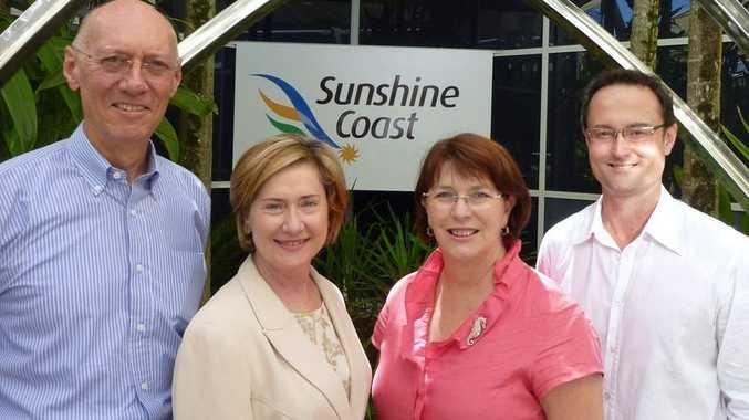 Ian Kean (Interim CEO, Sunshine Coast Destination Ltd), Julie-Anne Schafer (Chair, Sunshine Coast Destination Ltd), Jan Jarratt (Honourable Minister for Tourism, Manufacturing and Small Business), Anthony Hayes (CEO, Tourism Queensland).