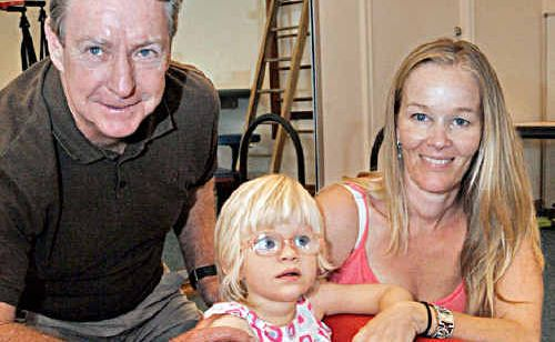 Nambour's Sunshine Coast Children's Therapy Centre director Frank Martin, with Sunny Monie and her mum Karina.