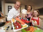 Chef Laurent Vancam and his family, wife, Chantel, Amy, 10, and Luke, 5. Chef Laurent has been filming a new childrens cooking show and busy in the St Johns school tuckshop.