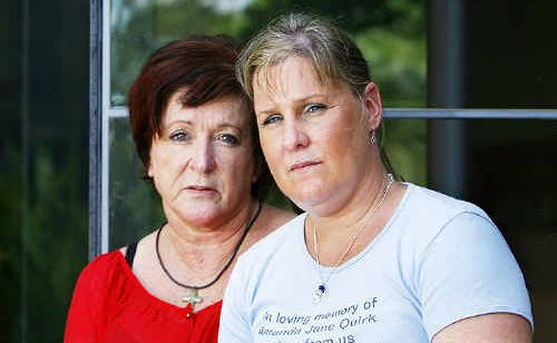 Amanda Quirk's mother Ann Lappin and sister Lisa Quirk attend the hearing at Ipswich Court House yesterday.