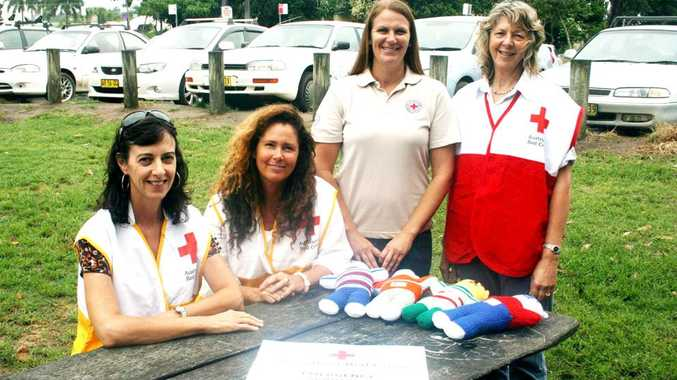 Red Cross volunteers trained in emergency services (from left) Amanda Lucantonio, Tracee Thomson, Tweed-Byron emergency services liaison officer Kodie Alderton and Byron Bay team leader Bronwyn Raphael.