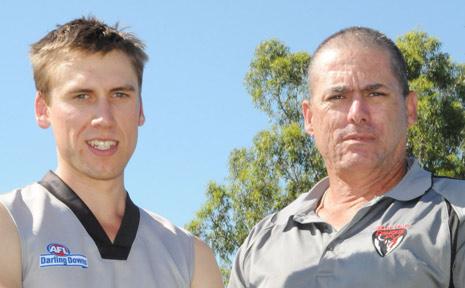 DEMONS SERNIORS CAPTAIN Jonathan Hendreck and coach Tony Bowers.