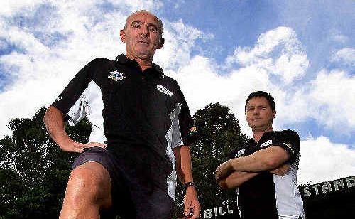 Murwillumbah Football Club's senior coaching director Jim Spark (left) with club president Jason Dittmar.