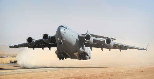 A RAAF C-17 Globemaster at Multinational Base Tarin Kot in Afghanistan.