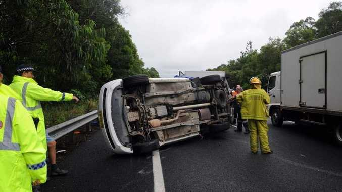 Scene of the accident on the Bruce Highway in the north bound lane 200 metres (approx) from the Kiel Mountain overpass.  Photo:Warren Lynam / Sunshine Coast Daily