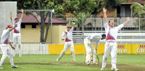 The Country team celebrates the dismissal of ATW batsman Joe Padmore in the preliminary final yesterday.
