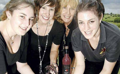 Mickaela Haines, Phoebe Thurecht, Jalaine Turnbull and Taylor Ward won one of the grape-stomp events at Warrego Winery . Photo: Sarah Harvey