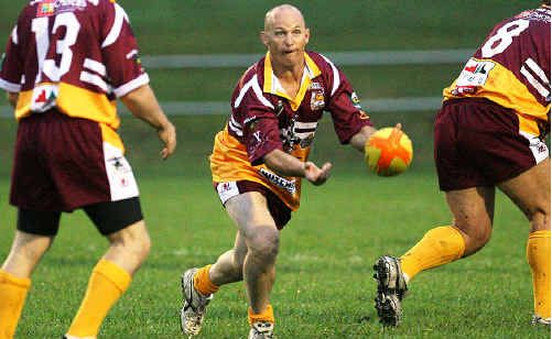 Ipswich rugby league greats like Kerrod Walters (above) displayed plenty of their trademark skills and passion during the charity match at North Ipswich Reserve. Photo: Rob Williams