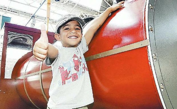 Isaac Tanioria, 4, gives his stamp of approval to Ipswich tourist attraction The Workshops Rail Museum.