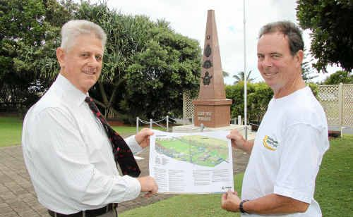 Tweed Shire Council engineering and operations director Patrick Knight and Mayor Kevin Skinner with plans for revamped parkland on the Kingscliff foreshore.