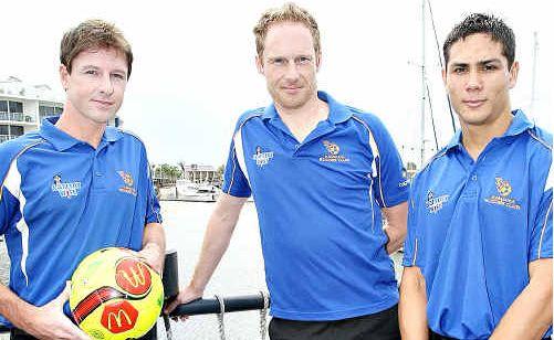 Luke Ricketts, coach Roger Hardwicke and Anthony Reid rub shoulders at the Kawana Soccer Club season launch.