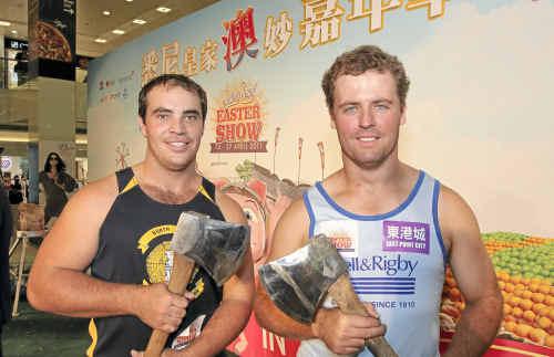 Grafton axeman Dan Shipman with fellow woodchopper Brett Monaghan on their tour of China and Hong Kong.