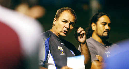 Goodna Rugby League Club coach Chris Fullarton and captain Fa Tauaa have the task of rebuilding the club's A-grade team this season.