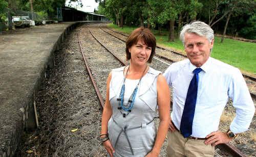 Geoff Provist and Melinda Pavey at the M'Bah railway station.