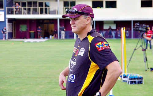 Rockhampton's Anthony Griffin takes charge at a Brisbane Broncos training session this week ahead of tonight's season opener at Suncorp Stadium.