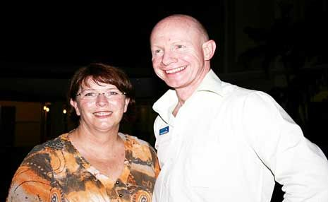 TOURISM DOLLARS: Tourism Minister Jan Jarratt and Tourism Whitsundays chief executive Peter O'Reilly were talking about tourism at Waterline on Shingley last Friday night.