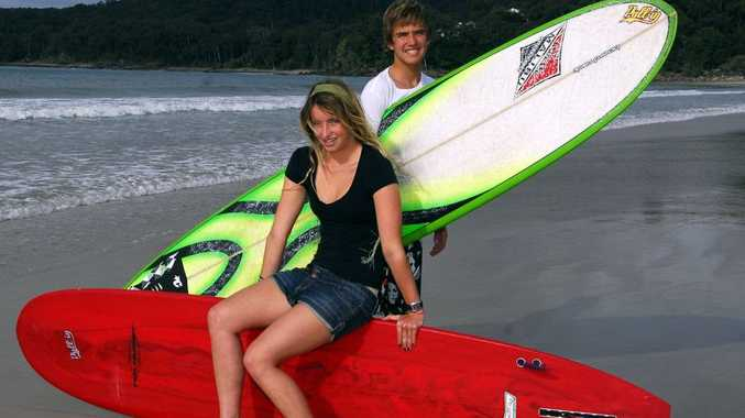 Brother and sister surfing champs Kelly and Jackson Winter after the Malibu competitions a few years ago.