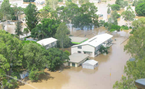 Alpha State School, shown here during the floods, is the only Very Remote school in the region.