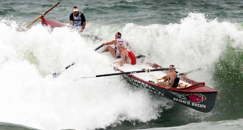 A rough landing awaits the Northcliffe under-23 men's crew in yesterday's final at Coolum.