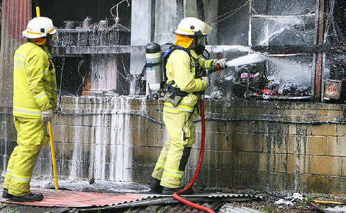 A shed fire on a property in Elanora.
