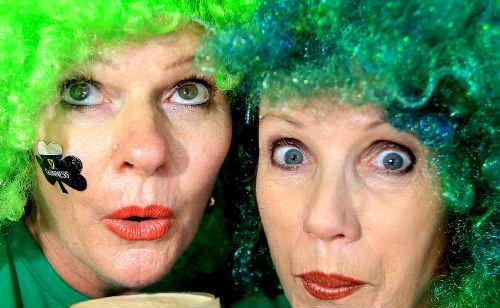 Vivienne Barker and Kris Hage prepare to celebrate St Patrick's Day.