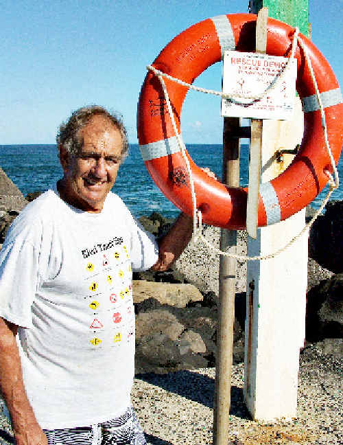 Ballina man Geoffrey Muir used an Angel Ring to help save two teenagers who got into trouble while swimming at Lighthouse Beach on Monday afternoon.