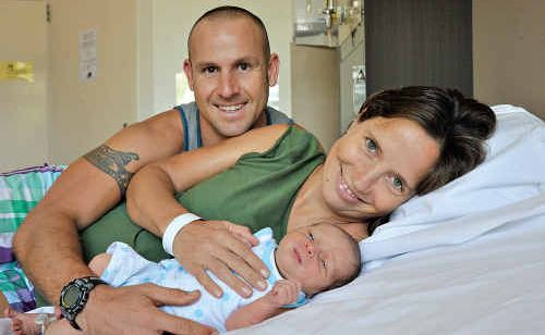Mack Paul Manietta with mother Charlotte and dad Kristian shortly after he was born.