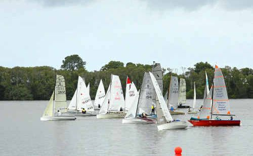 The Dinghy Class competitors get away to a clean start during the Big River Sailing Club's Annual Regatta at Harwood on Saturday.