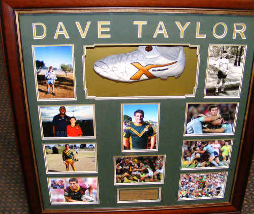 The mounted boot in a glass cabinet and frame with pictures of Dave wearing it with Queensland pride can be viewed and potential buyers can bid on it at www.ebay.com.au by typing in Dave Taylor Autographed Footy Boot. The auction ends on Monday.