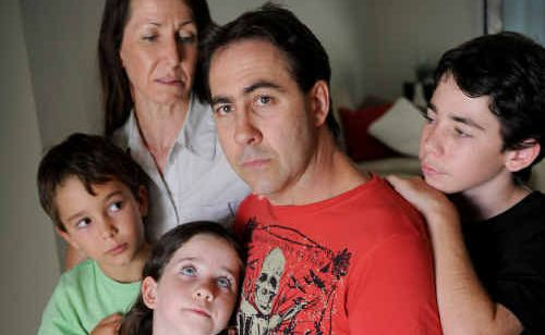 Brad Gibson, pictured at home with his family in Buderim, leaves for Florida tomorrow to take part in a new pharmaceutical trial.