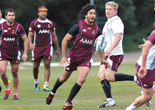 Johnathan Thurston keeps busy at State of Origin training at the Hyatt Coolum last year.