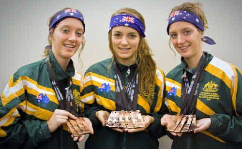 Medallists Kiara Bin, Indija Anderson and Bianca Bin.