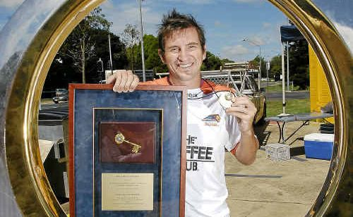 Brisbane Roar defender Shane Stefanutto brought the A-League grand final celebrations to Toowoomba yesterday.