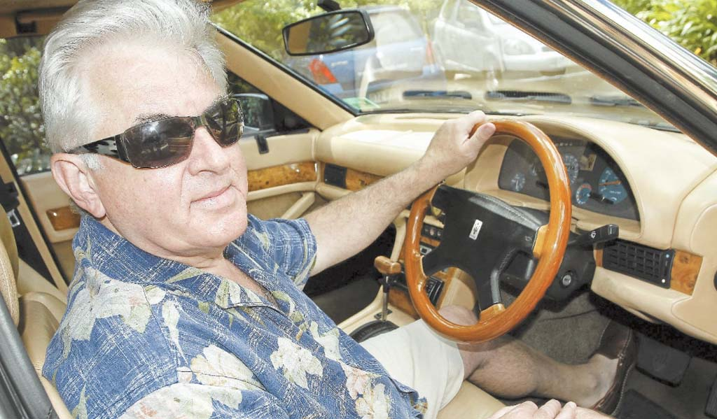 Alex Raymond in his 1994 Maserati 430 4v, which can go from 0-100kmh in a mere six seconds.