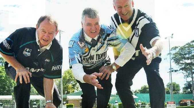 Peter Barrett, Bill Nichol and Marty Phillips in training for the Men of League bowls day.