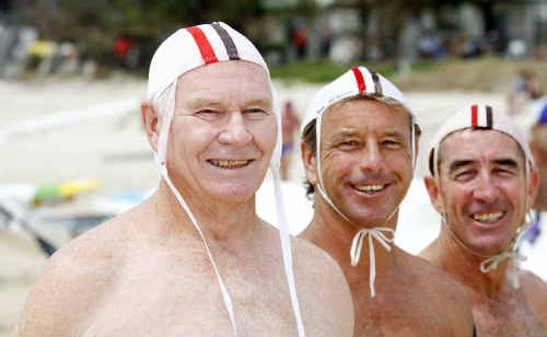 Ken Cook, 71, (left), Craig McBrien, 47, and Jim McCullagh, 56, from Woolgoolga SLSC, pose for a portrait at the 2011 ALLPHONES Masters NSW Surf Life Saving Championships, held at Kingscliff.