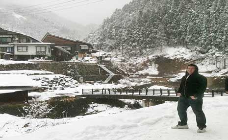 REACTION TO QUAKE: Ryan Carter is living and working at the Nozawa Onsen Ski Resort on Japan's main island Honshu.