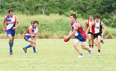 GOAL KICKER: Brodie Tebbutt kicks a goal for the Whitsunday Sea Eagles in their win over the North Mackay Saints on Saturday.