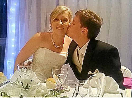 Assumption College teacher Jane Ezzy on her wedding day with husband Stuart.