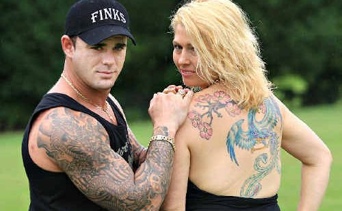 Kris Spizzirri of the Gold Coast and Jody Wallis of Bilambil show their personal style at the Bilambil Tattoo Show and Family Day.