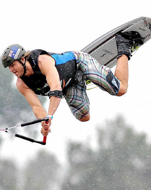 South Australian competitior Lachlan Burgess, 22, was a finalist in the Monster Energy ProWake Show on the Clarence River at Grafton.